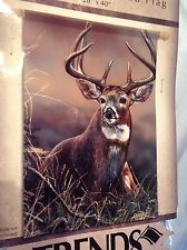 "Whitetail Large Double Sided Flag 28"" x 40 "" FlagTrends #47009 Dura Soft $22.99"