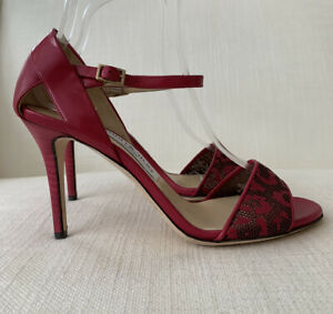 Jimmy Choo Luigi Raspberry Red Colour Perforated Sandals Size 37 NEW WITHOUT BOX