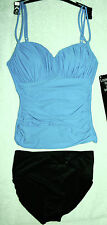 Miraclesuit  Tankini Set Sz 8 Turq Blue with Black Bottoms