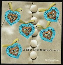 """Bloc Feuillet 2001 N°33 Timbres Saint Valentin """"Le Cœur est le Timbre du Corps"""""""
