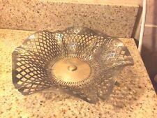 Antique Apollo Silver Co Filigree Bread Basket Quadruple Plate