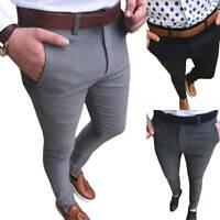Mens Business Formal Smart Trousers Skinny Slim Fit Work Casual Dress Long Pants