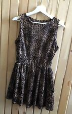 GLAMOROUS brown leopard animal print skater scuba dress size 10 rockabilly retro