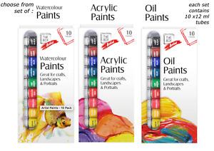ACRYLIC PAINT SET Oil PAINTS Water Paints ARTIST ART  10X12ml ACRYLIC COLOUR