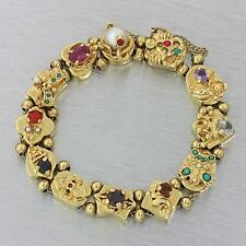Vintage Antique Victorian Style 14k Solid Yellow Gold Mixed Gems Slide Bracelet