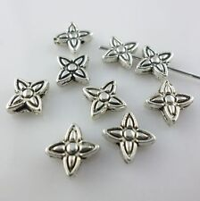 50pcs Flower Antique Silver Charms Spacer Beads 2*6mm Jewelry Findings Making