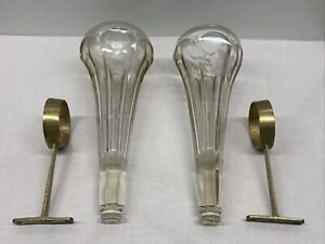 Antique Vintage Auto Flower Bud VASE bracket Set Pair Etched Clear glass