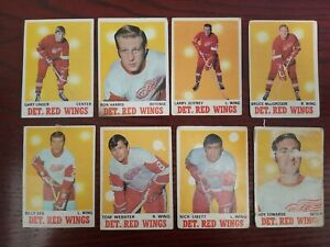 70-71 OPC Hockey Cards Lot of 8 featuring the Detroit Red Wings.