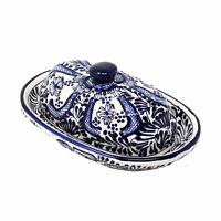 Handmade Pottery Butter Dish, Blue Flower Encantada