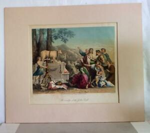 Antique rare W French steel engraving of Poussin printed by AH Payne circa 1845