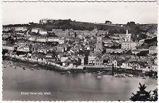 FOWEY FROM HILL WALK - by Harvey Barton - Cornwall - c1950s era RP postcard
