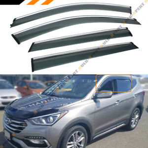 FOR 2013-2018 HYUNDAI SANTA FE SPORT CLIP ON CHROME TRIM WINDOW VISOR RAIN GUARD