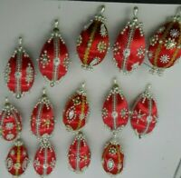 Handmade Red Satin Christmas Ornaments Victorian Style Bead Sequin Pin Lot of 14