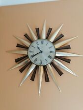 More details for vintage retro metamec sunburst wall clock large 60cm