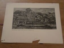 VIEUX PAPIERS, ANCIENNE PAGE ESTAMPES, NEW ZEALAND NATIVE BARNS AKAROA 1845 ART