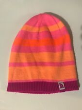 Girls NORTH FACE A6X6 'Pete N Repeat' REVERSIBLE Pink Stripe, Pink Beanie, M