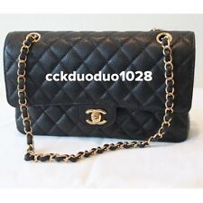 NEW Chanel Medium/Large M/L Classic Flap Bag Black Caviar Gold HW