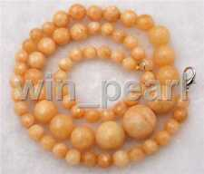 """Natural 6-14mm Faceted Brazil Yellow jade Round Beads Gemstone Necklace 18 """""""
