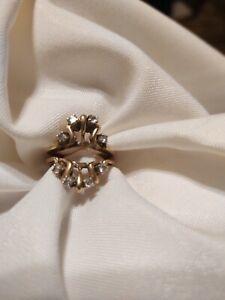 Genuine Diamond Ring Guard / Wrap 14 Kt Yellow Gold size 6