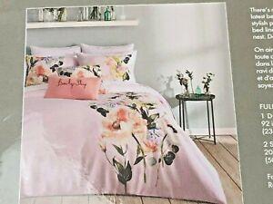 TED BAKER LONDON Full/Queen 3pc Duvet Cover Set ELEGANT Pink Floral NIP