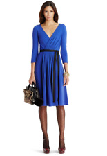 Diane Von Furstenberg Seduction Blue Wrap Dress Sz 0 100% Wool