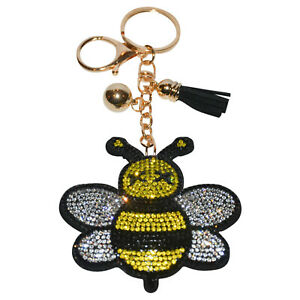 Bumble Bee Keychain Women Crystal Bag Charm Girls Backpack Clip On Bling Purse