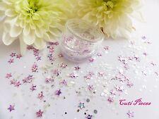 Arte en uñas Grueso * La Luna * Mezcla De Plata Rosa Estrellas hexágonos Brillos Lentejuelas Pot