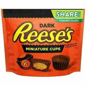RESSE'S Dark Chocolate Peanut Butter Cup Candy, Miniatures, 10.2 oz Bag