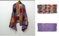 Silk Kantha Scarf patchwork Head Wrap Stole Dupatta Hand Quilted Women Gypsy