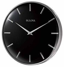 "Bulova 16"" Metro Quartz Satin Pewter Finish Metal Black Dial Wall Clock C4849"