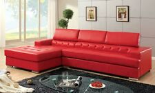 Bonded Leather T-Cushion Seating Contemporary Look Sectional Sofa Red In Color