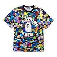 Hot Bape A Bathing Ape Camo Short Sleeves Colorful Monkey Head Men's T-shirt Tee
