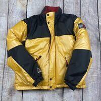 Vtg 90s Tommy Hilfiger Outdoor Men's L Yellow/Black Expedition Hood Coat Jacket