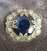 VINTAGE blue glass gem set STATEMENT SILVER TONE  PIN BROOCH FACETED ORNATE VTG