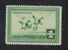 CKStamps: US Federal Duck Stamps Collection Scott#RW4 $1 Unused NG Light Crease