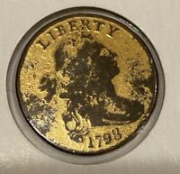 1798 draped bust large cent Hair Style 1