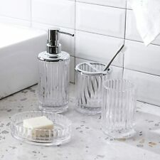 4PC Clear Glass Bathroom Accessory/Accessories Set w Dispenser&Toothbrush Holder