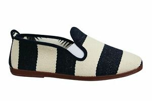 Flossy Style Amara Unisex Espadrille Slip On Plimsolls Shoes 55427 Navy Cream
