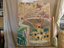 Composition 'SUNFLOWERS ON RATTAN CHAIR' Vintage Oil Painting