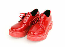 iiJin Womens Shiny Patent Red Hidden Wedge Sneakers Shoes Leather Rubber 38