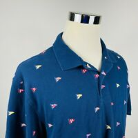 Brooks Brothers Mens Large Polo Shirt Nautical Flags Sailing Navy Blue Cotton