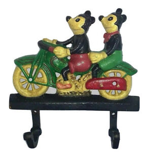 Vintage Style Cast Iron Mickey Mouse on Motorbike Wall - Coat - Bag Hooks.