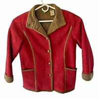 LL Bean Womens Small Red Faux Suede Sherpa Lined Coat Shearling Button Up
