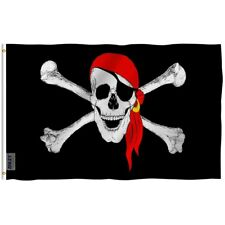 Anley Red Bandana Pirate Flag Jolly Roger Banner Polyester 3x5 Foot Flags