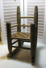 """Turned Wood Doll / Bear Rocking Chair With Woven Seat 16"""" High"""