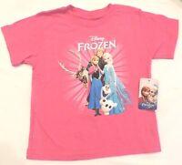 Disney Frozen Girl's Tee T Shirt Top  Anna Elsa Olaf Pink  Sz XS