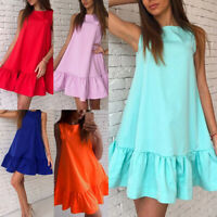 New Women Ruffle Short Dress Summer Sleeveless Mini Party Beach Sundress Loose