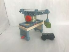 Thomas Wooden Railway Sodor Docks Crane with Cargo Car and Container -- GOOD
