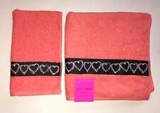 2 Pc Set Betsey Johnson Orange,Salmon,Coral Heart Shape Cotton Bath+Hand Towel