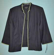 Perceptions Blazer Jacket 16 NEW Open Front Navy Blue Lime Green Washable Travel